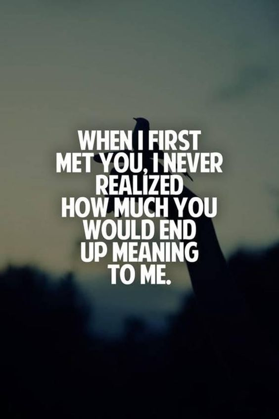 When I fist met you, i never realized how much you would end up meaning to me