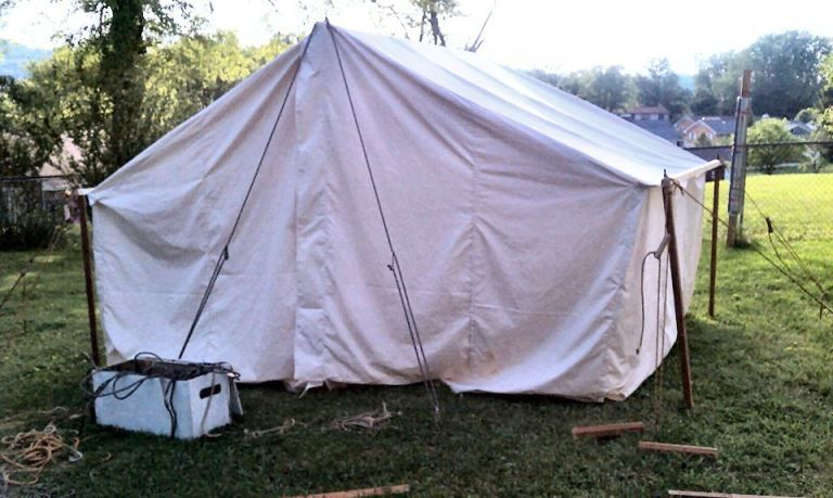 wall tent with side pole sleeve | SCA Camping | Pavilion
