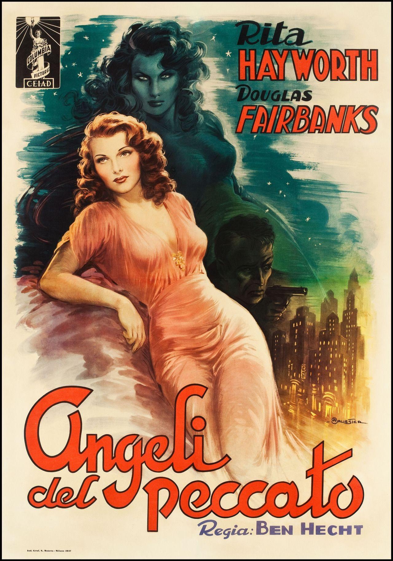 An Italian poster for the 1940 Rita Hayworth film noir ANGELS OVER  BROADWAY. (Source: ha.com)