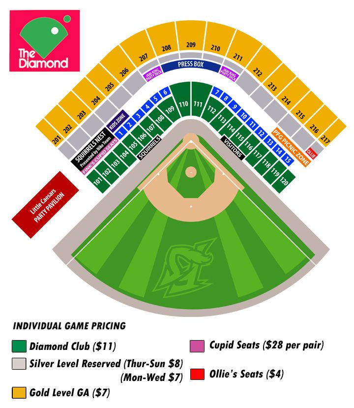 2014 Seating Chart Richmondflyingsquirrels Tickets Promotions