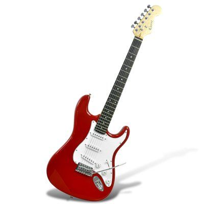 """Electric Guitar """"Gecko GE-245 ST"""" - 3 Single Coil Pickups, 22 Frets, Whammy Bar (Red) http://www.chinavasion.com/china/wholesale/Electronic_Gadgets/Cool_Gadgets/Electric_Guitar_Gecko_GE-245_ST_-_3_Single_Coil_Pickups_22_Frets_Whammy_Bar_Red/"""