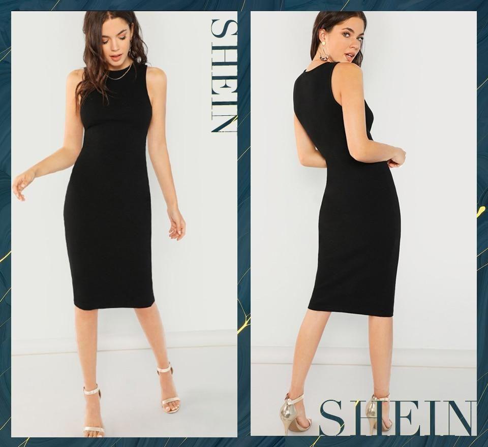 52bcdf1c3e Shein Black Elegant Solid Pencil Dress Slim Sleeveless Knee Length Sex –  FuzWeb