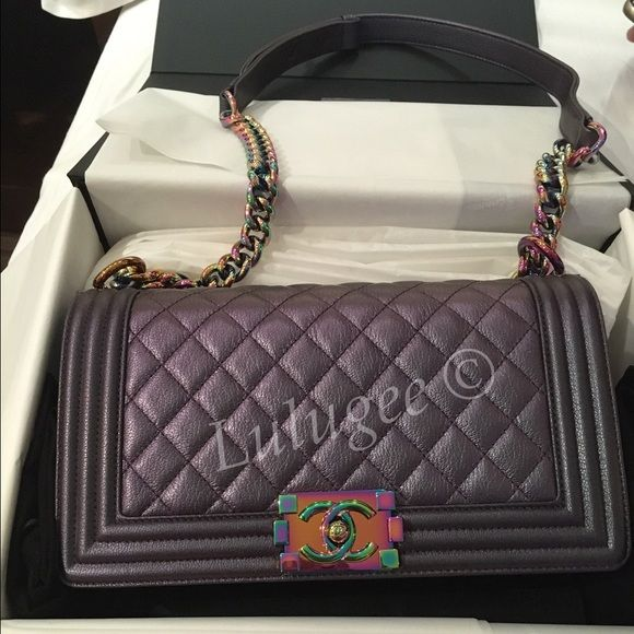 c49956e75053cd Auth CHANEL RARE Purple Rainbow Medium Boy [Not for Sales] RARE!!!! 2016  Cruise Line Limited Edition Rainbow Purple Medium Boy CHANEL Bags Shoulder  Bags