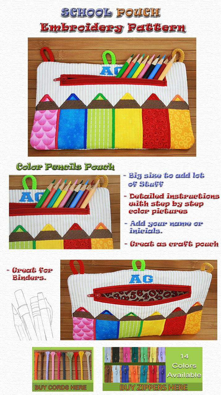 SCHOOL POUCH Embroidery Designs Free Embroidery Design Patterns