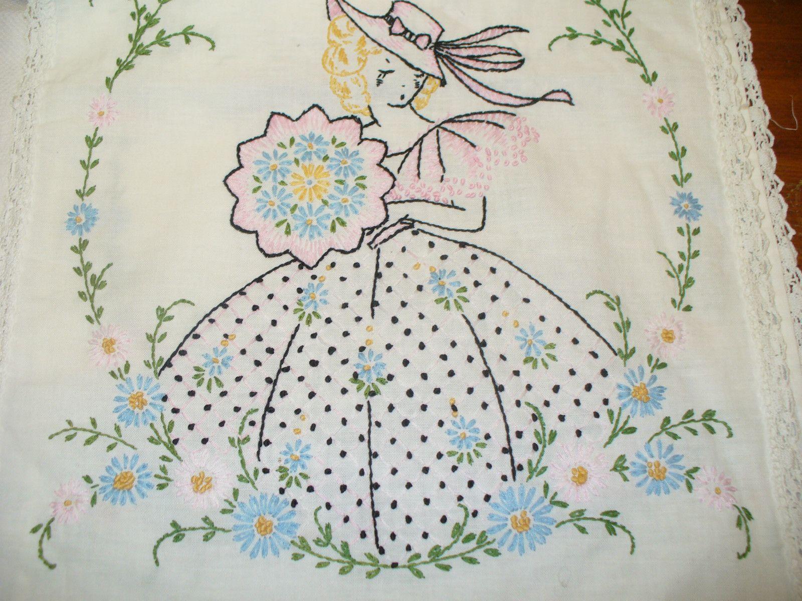 Vintage Embroidered Dresser Scarf Southern Belle | eBay | DIBUJOS ...