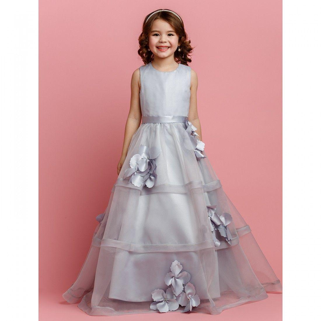A-line Jewel Floor-length Organza And Satin Flower Girl Dress ...