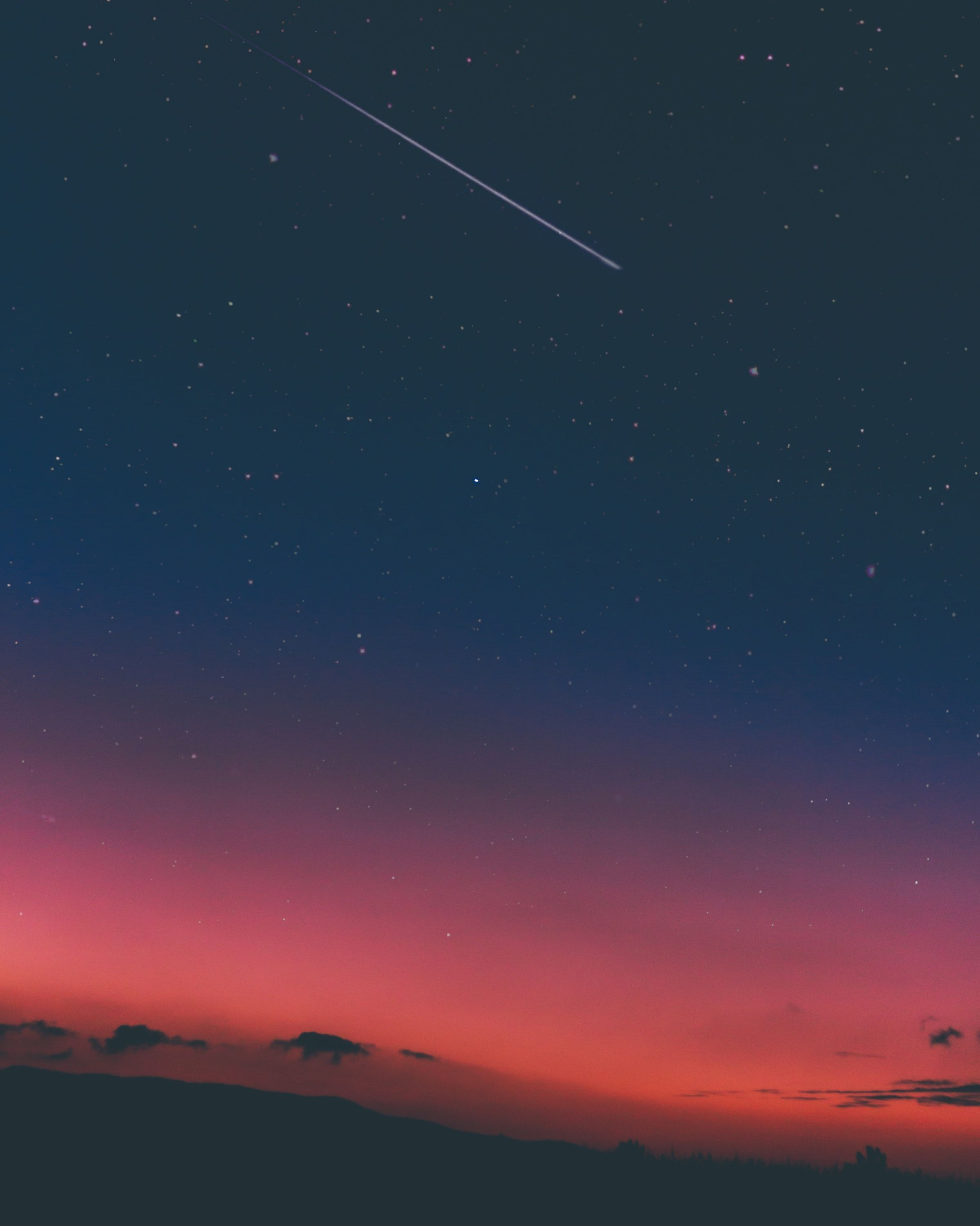 Sky star, night, shooting star, cloud, blue android