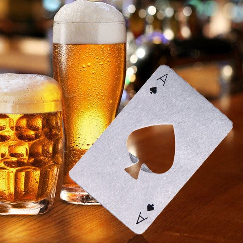 Stainless Steel Credit Card Size Casino Bottle Opener | Ace of ...