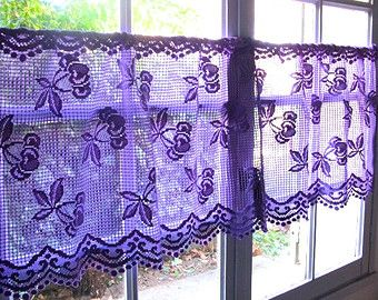 Lilac Lavender Lace Valance Cafe Curtains, Two French Panels ...