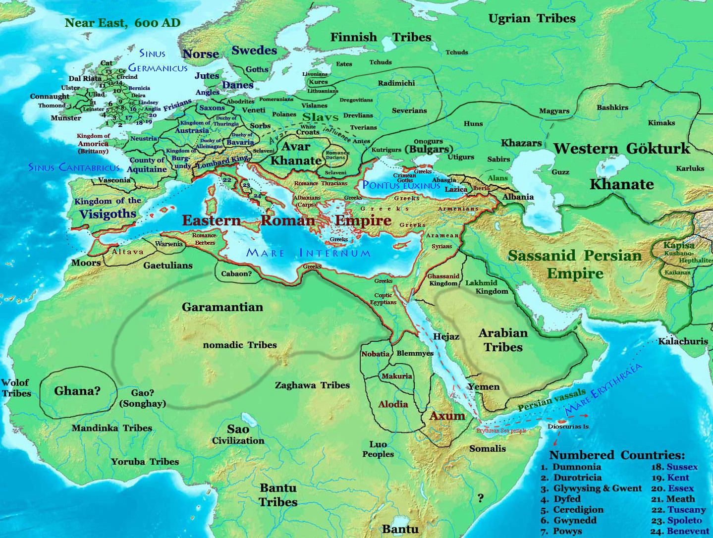 Europe, North Africa, and West Asia in 600 AD | Maps | North africa ...