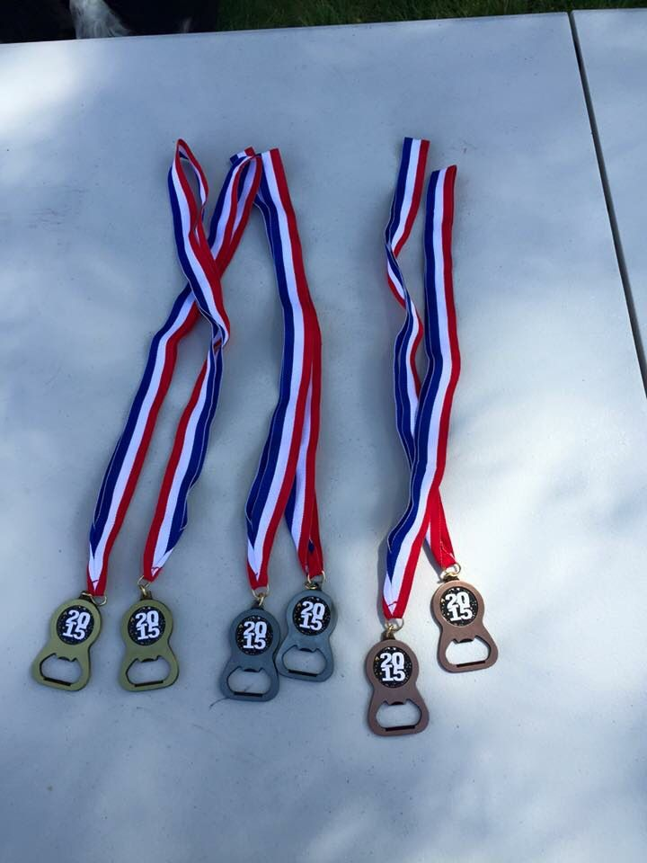 Bottle opener medals for Beer Olympics! Found on Crown Awards website