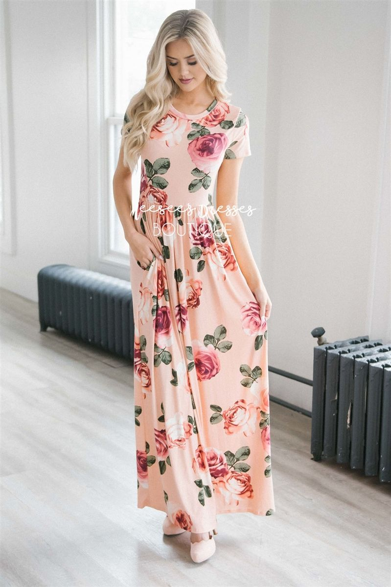 Pastel Peach Spring Fl Maxi Modest Dress Best And Affordable Boutique Cute Dresses Skirts For Church