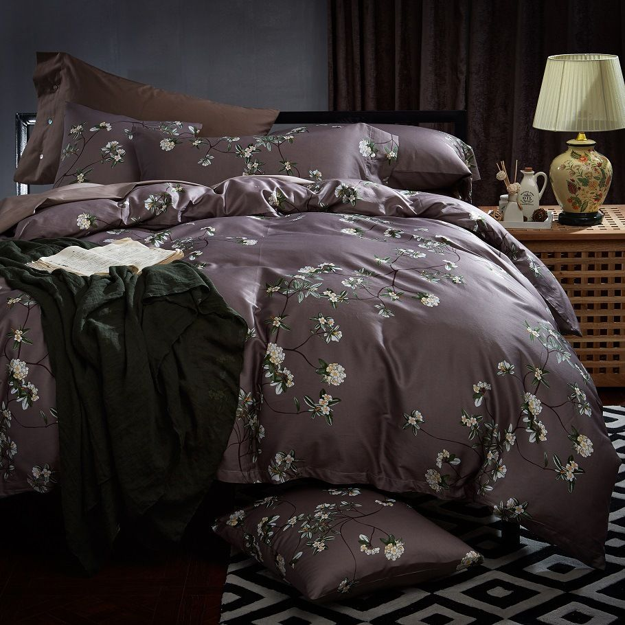 chausub silk bedding set 4pc 60s satin egyptian cotton duvet set cover printed bed cover king