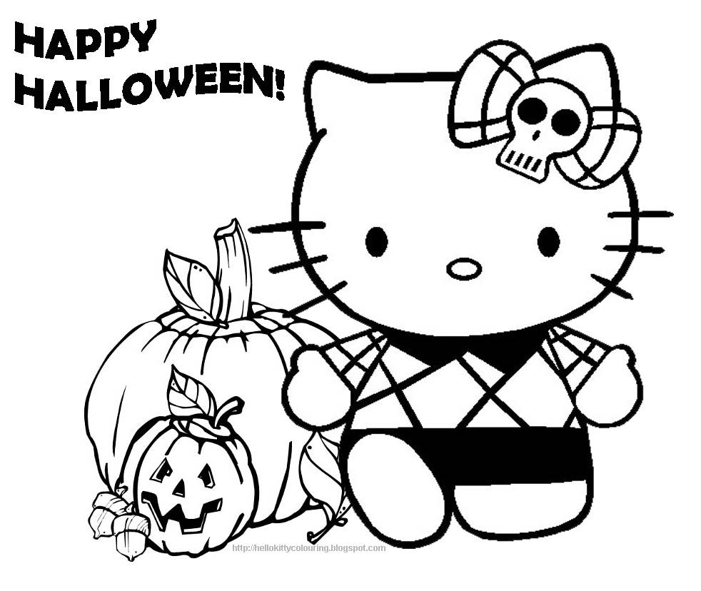 Hello Kitty And Pumpkin Halloween Coloring Pages | Hello ...