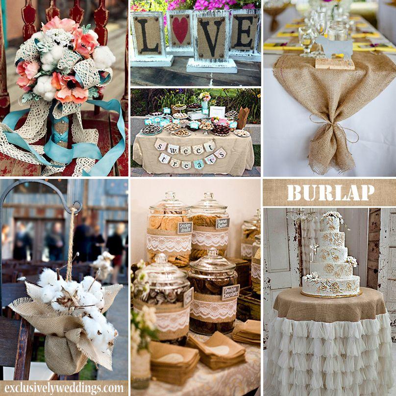 Wedding Decor Ideas Pinterest: Burlap Wedding Decorations #exclusivelyweddings