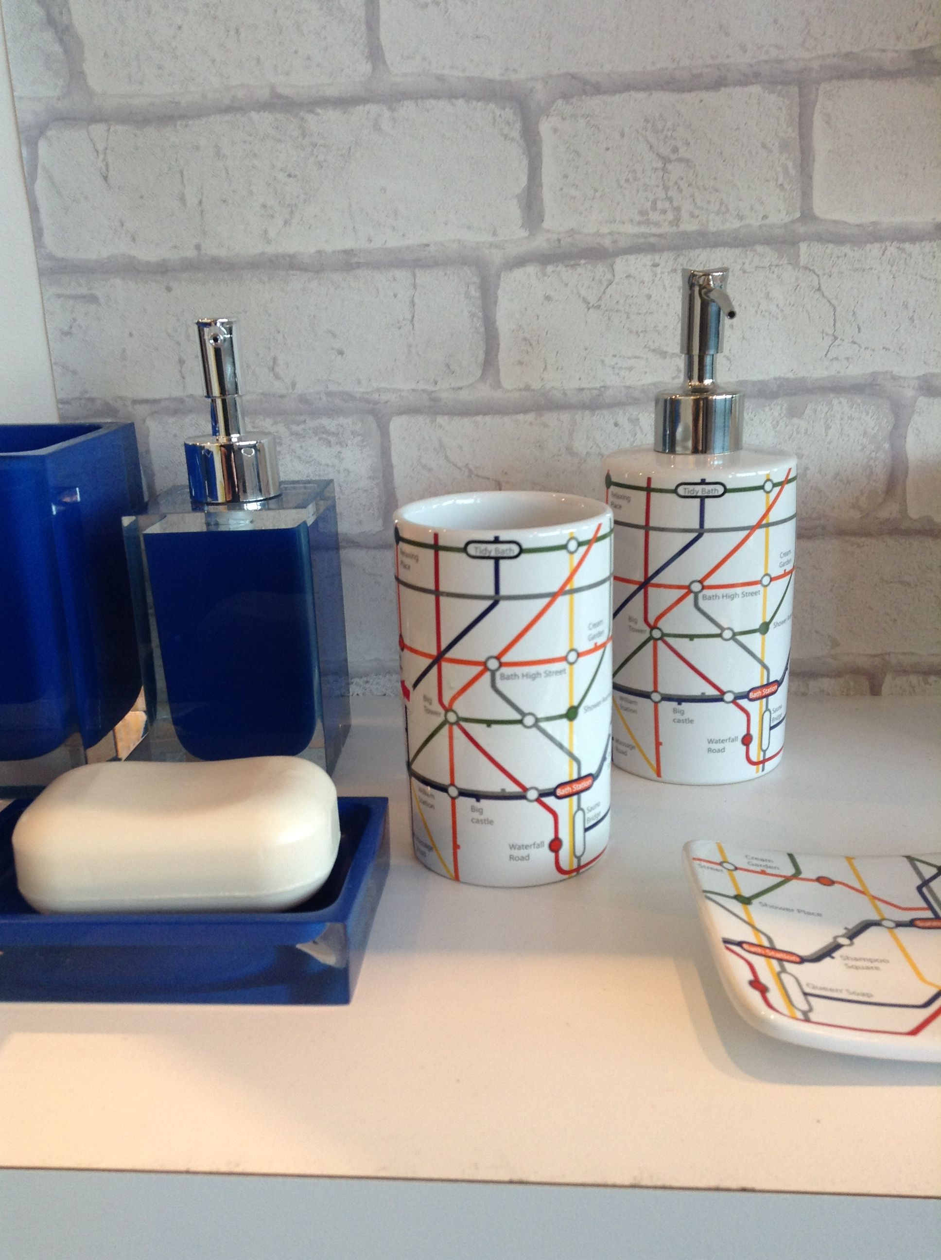 stylish gloss blue and london tube inspired bathroom accessories bathroom