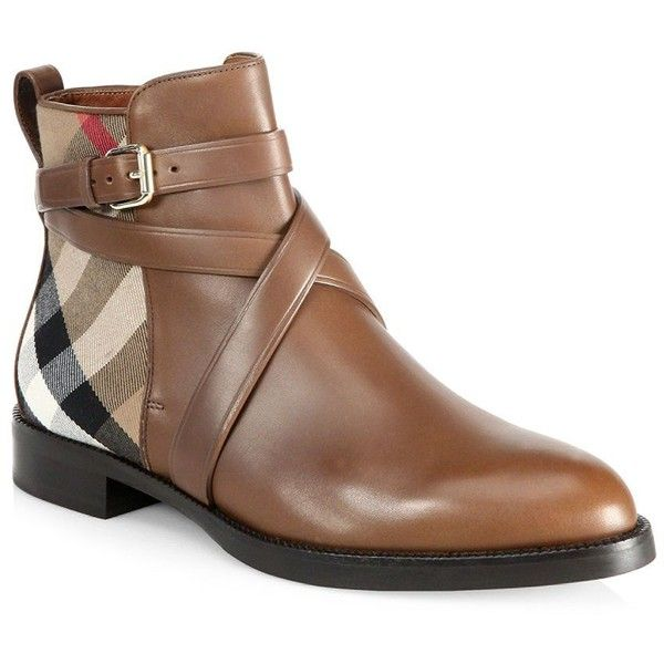 Burberry Vaughn Leather & House Check Booties (870 CAD) ❤ liked on Polyvore  featuring