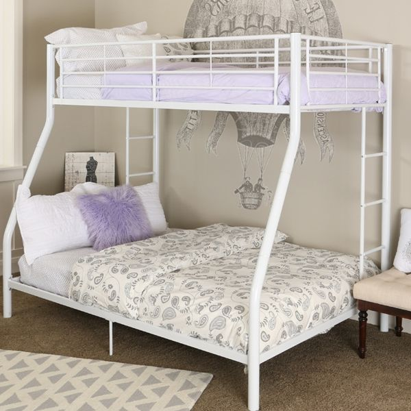 Premium Metal Twin Over Full Bunk Bed White Finish White Bunk