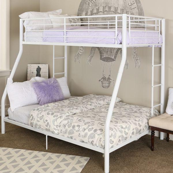 Premium Metal Twin Over Full Bunk Bed White Finish White Bunk