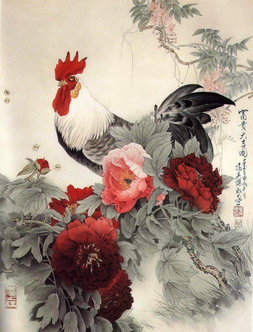 Символ предстоящего года — петух. Мне хотелось обратить ваше внимание на исполнение столь прекрасной птицы в стиле китайской живописи. В которой важно все от полного восприятия композиции до каждой мелкой детали на картине. Все несет свое значение и символику. Сам символ Петуха означает рассвет светлых и животворящих сил. Это сильная птица и очень прекрасная.