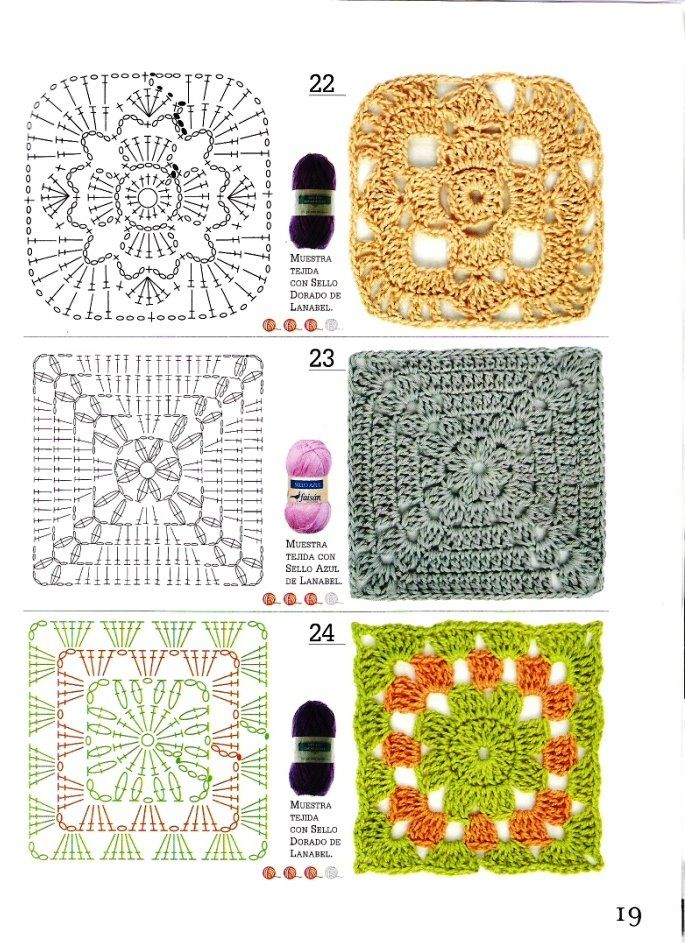 knit and crochet | Crochet motifs | Pinterest | Patrón de ganchillo ...