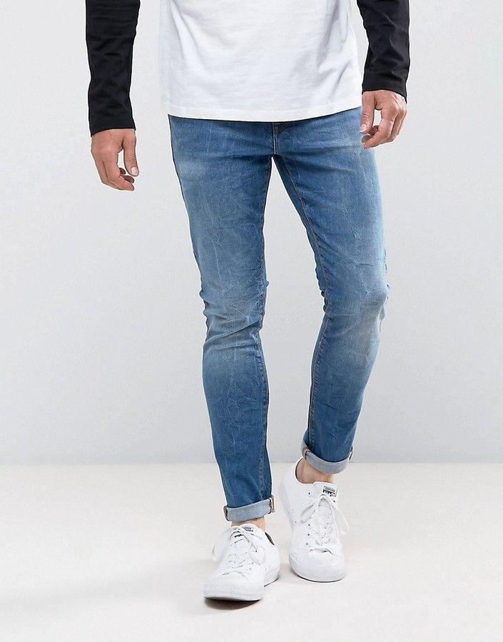 Grands Jeans Skinny En Bleu - 12,5 Oz Mi Lavage Mi Asos Bleu