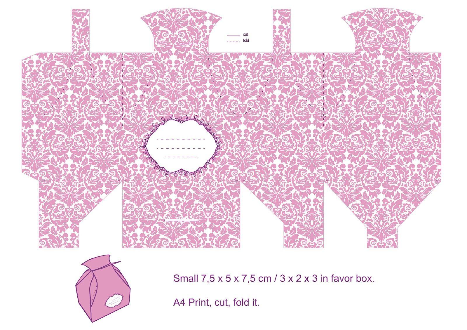 plantilla imprimible cajita carton diY/printable template gift box ...
