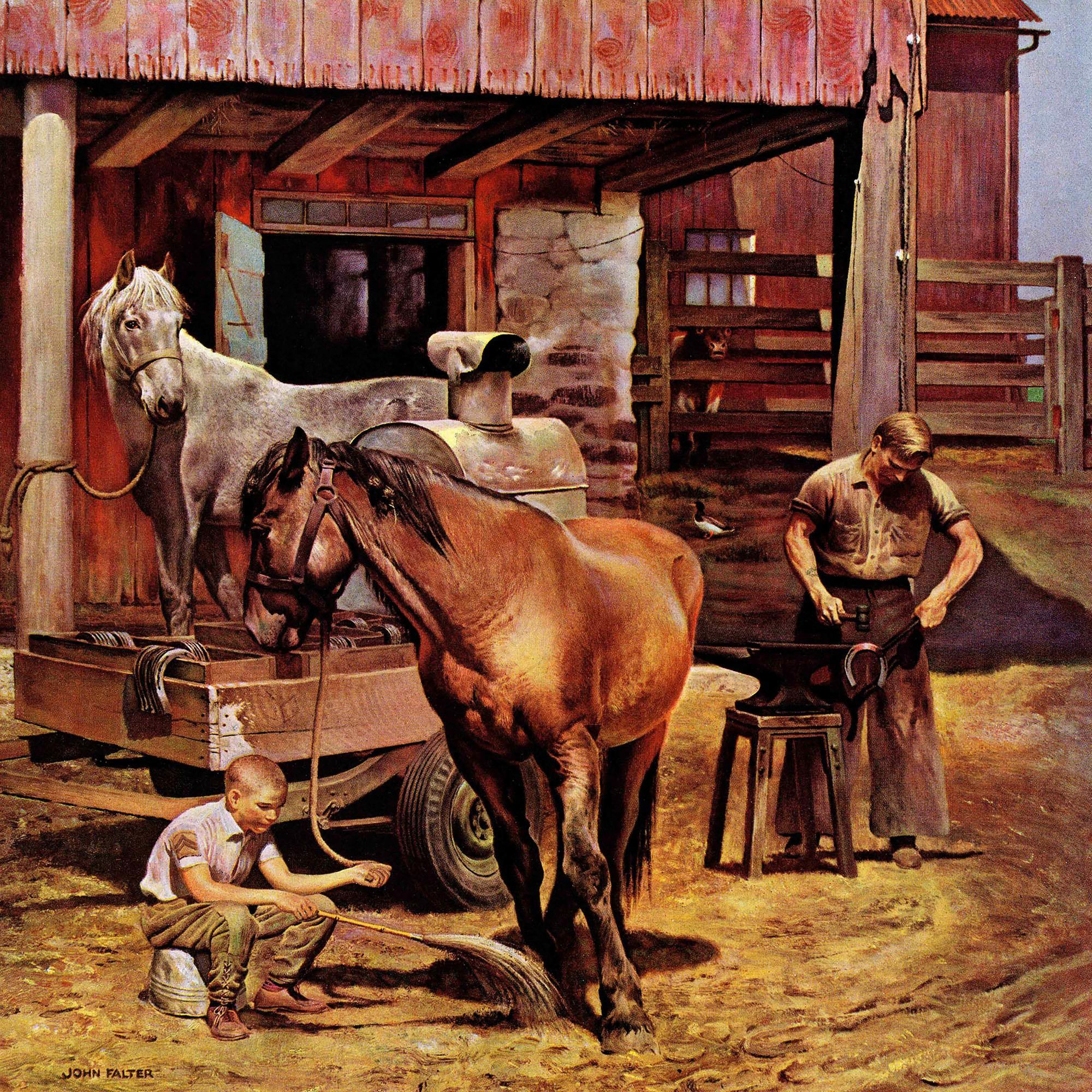 Blacksmith By John Falter Painting Print On Wrapped Canvas Vintage Poster Art Painting Prints Canvas Art Prints