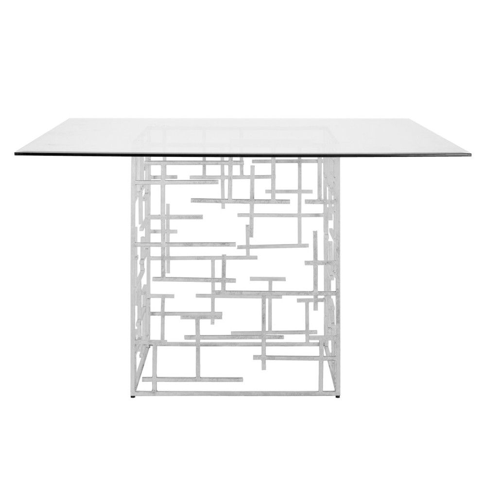 Contemporary dining table bases  Worlds Away Daniel Dining Table  Silver  Table bases World and