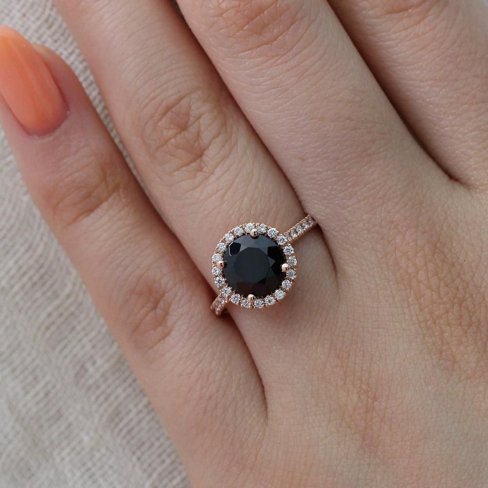 Luna Halo Ring In Pave Band W Round Black Spinel And Diamond In 2020 Spinel Engagement Rings Alternative Diamond Rings Black Spinel Ring