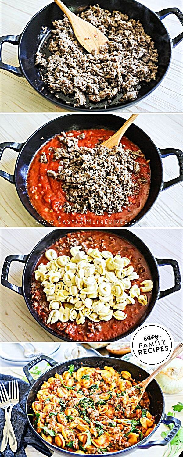 **EASY + DELICIOUS ** ONE SKILLET Italian Sausage Tortellini is the perfect easy dinner idea that ev...