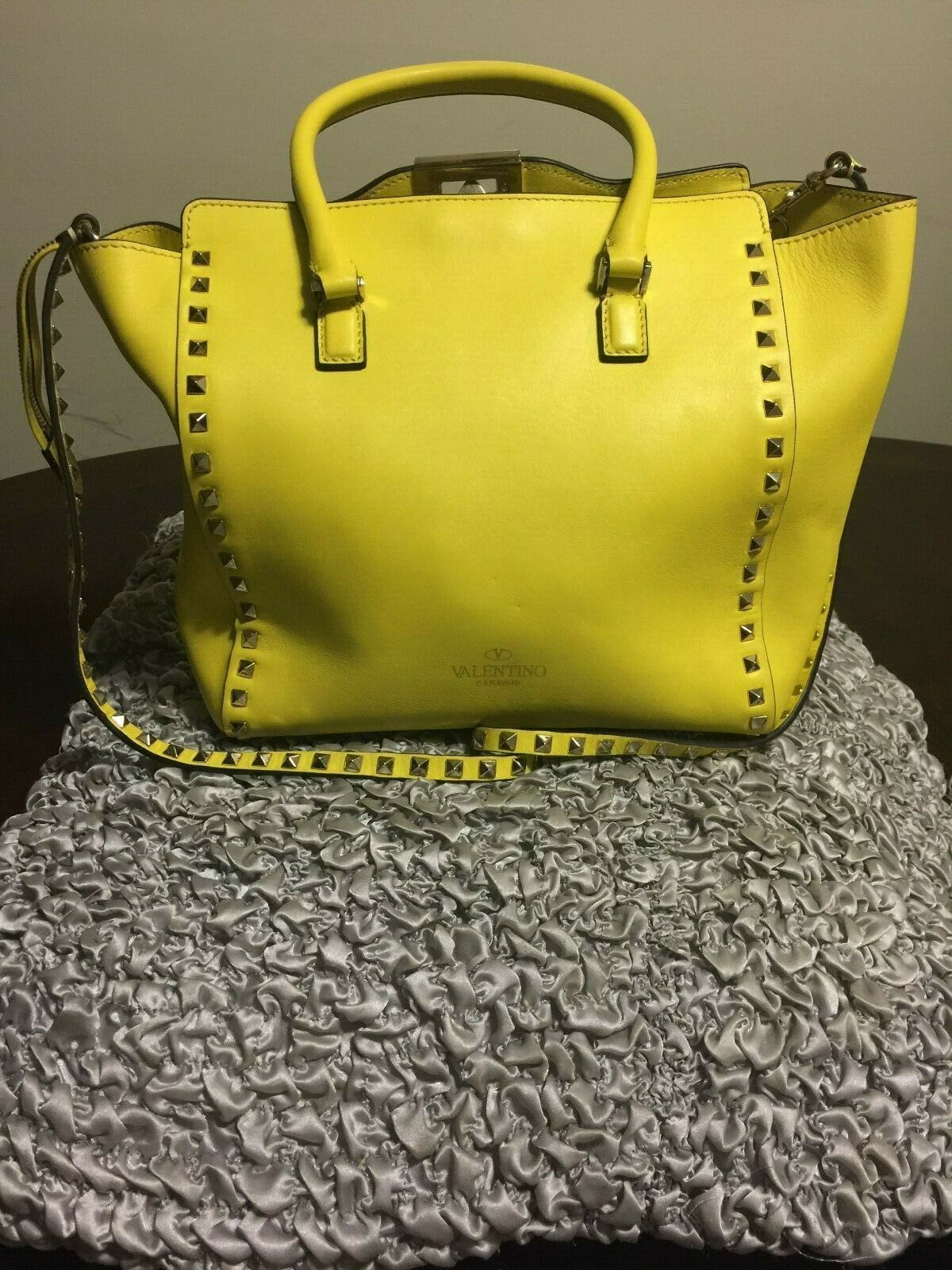 1be8b4dad Details about Valentino Garavani Petale Ruffle Yellow Napa Leather ...