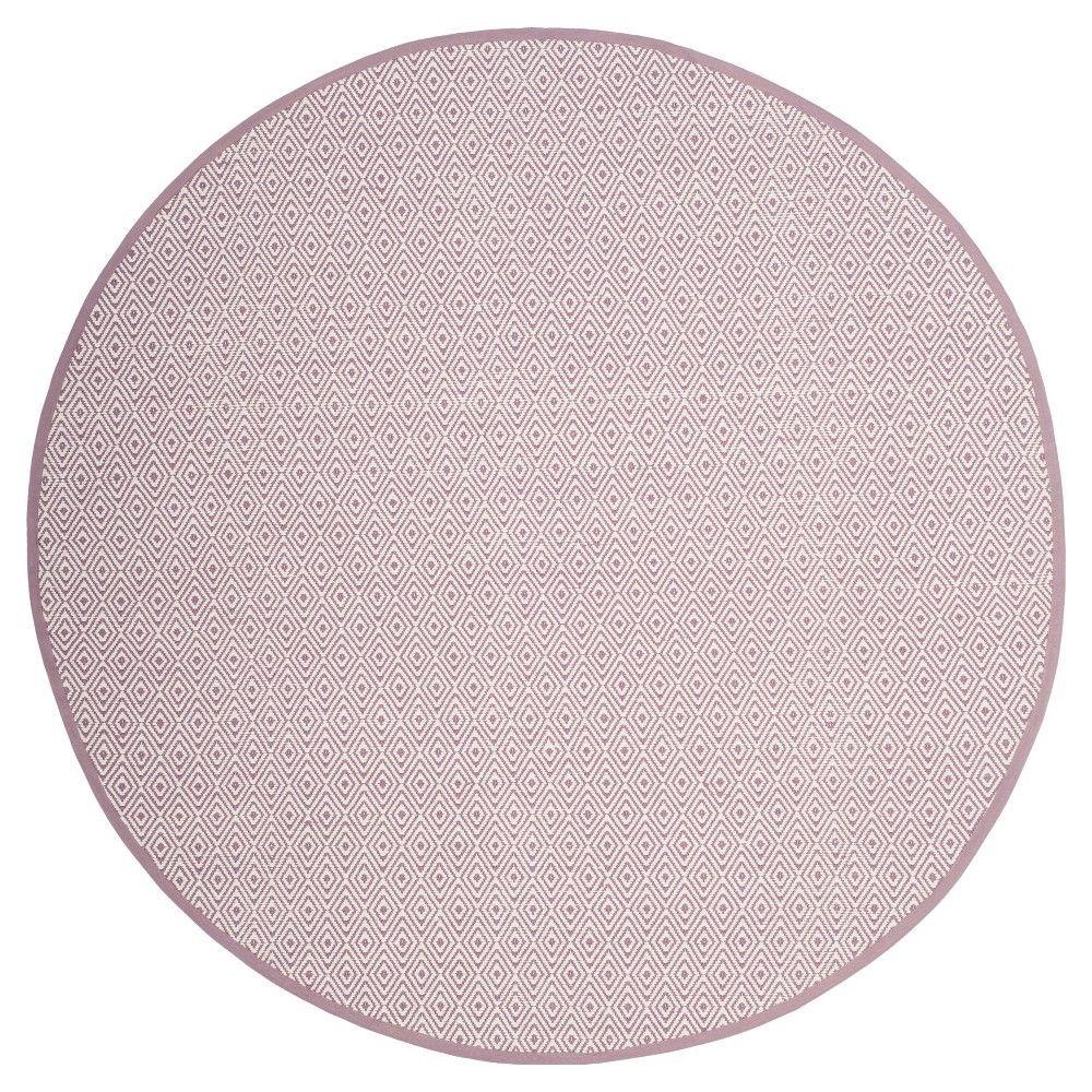 Ivory/Purple Stripe Flatweave Woven Round Area Rug - (6' Round) - Safavieh
