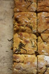 Ginger-carrot focaccia with tapenade & a paste made out of sundried tomatoes