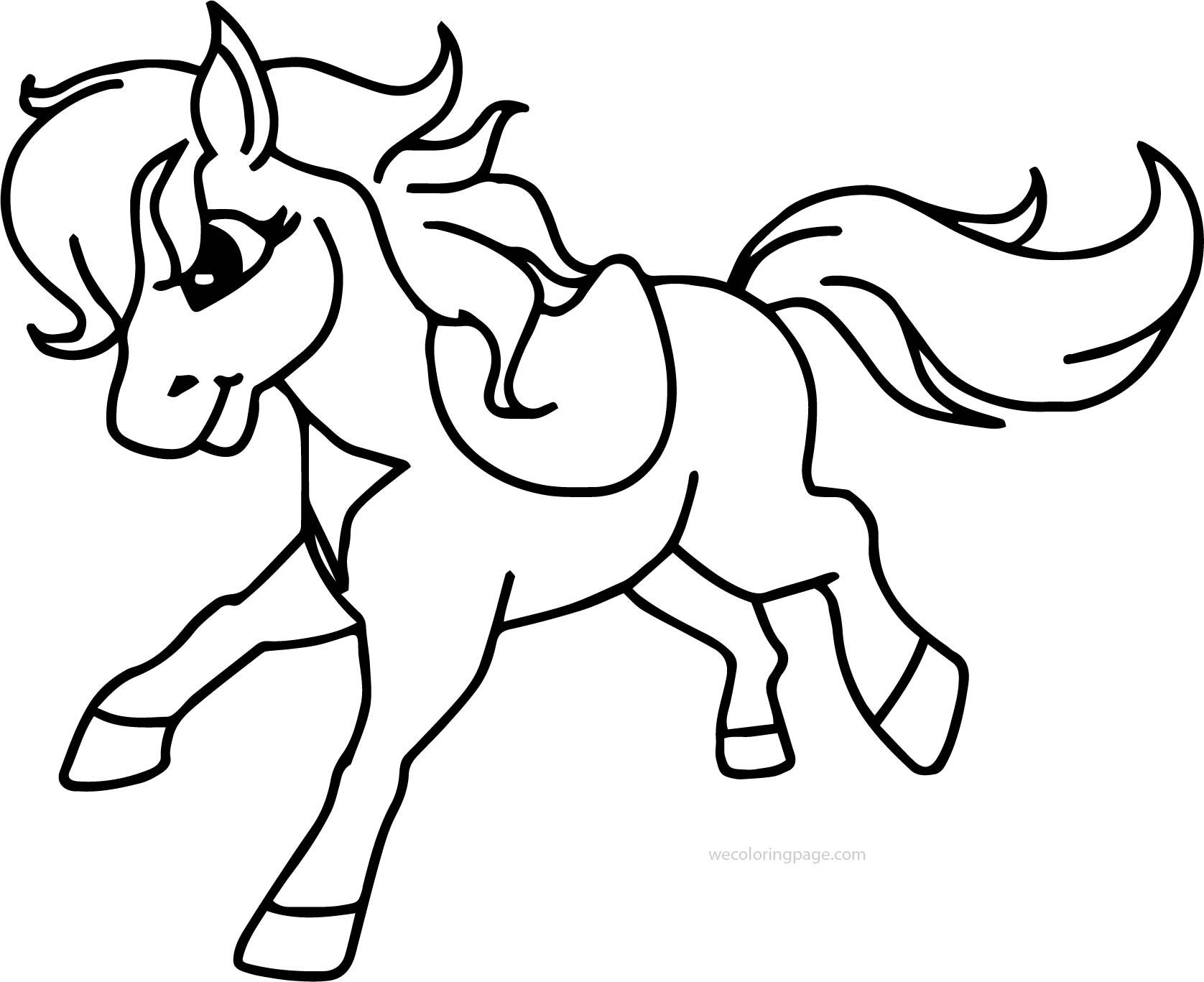 cool Pony Horse Running Free Download Coloring Page