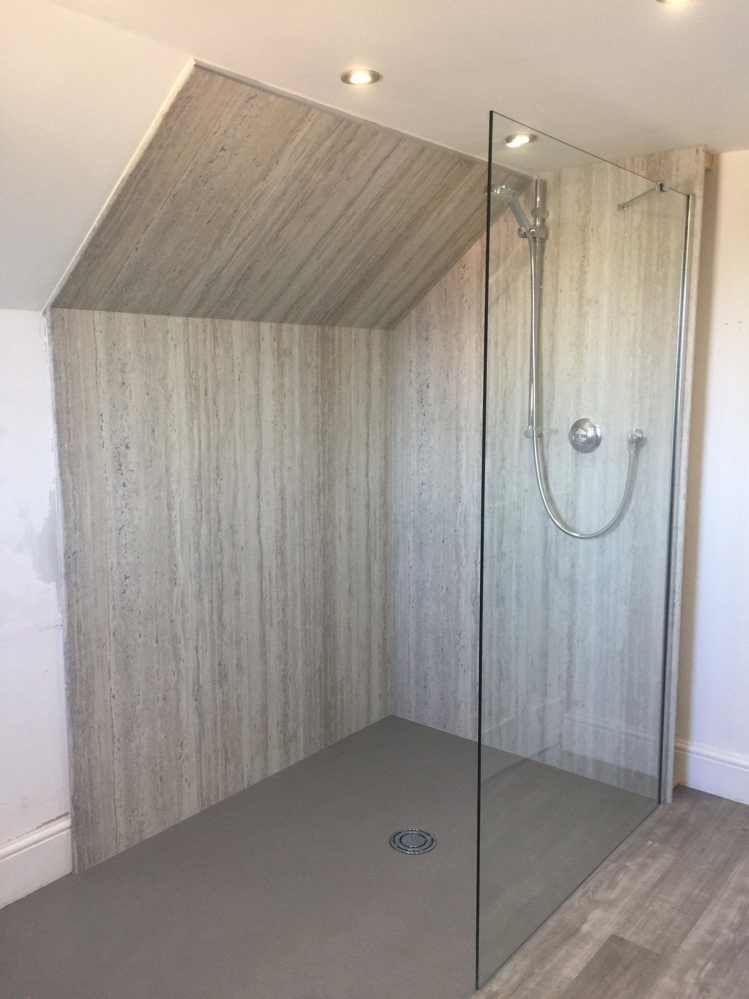 Customer Case Study Wall Panelling Bushboard Nuance Platinum Travertine Bushboard S Nuance Collection Is Wall Paneling Fitted Bathroom Bathroom Interior