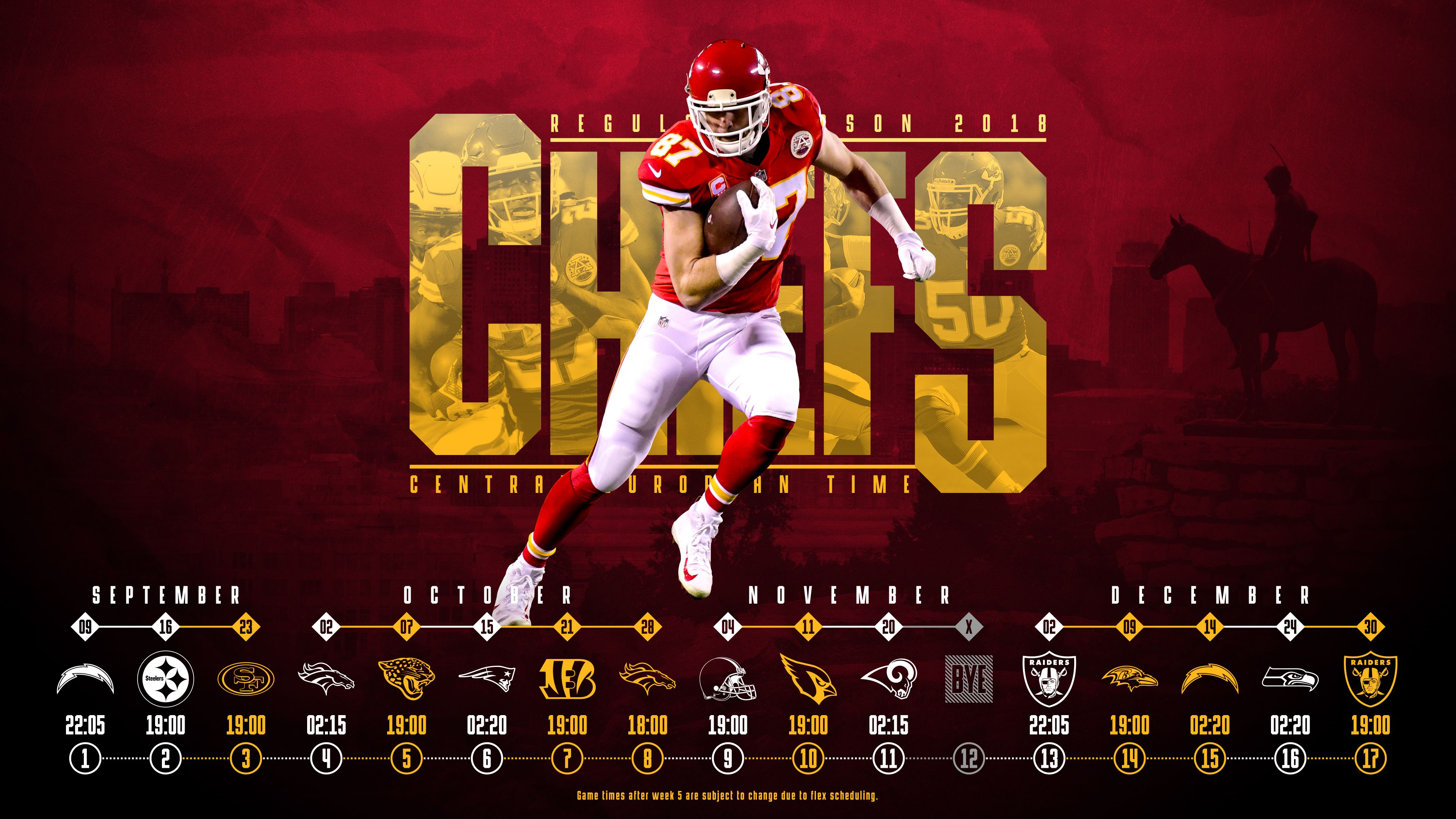 Schedule Wallpaper For The Kansas City Chiefs Regular Season 2018 Central European Time Made By Tobler Gergo Tgers Kansas City Chiefs Nfl Football Kc Chiefs