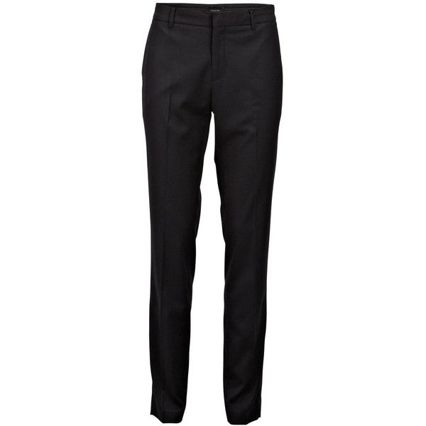 Selected Slim Fit - Suit Pants ($92) ❤ liked on Polyvore featuring pants, trousers, black, slim black pants, black dress pants, zip pants, dress pants and slim fit suit pants