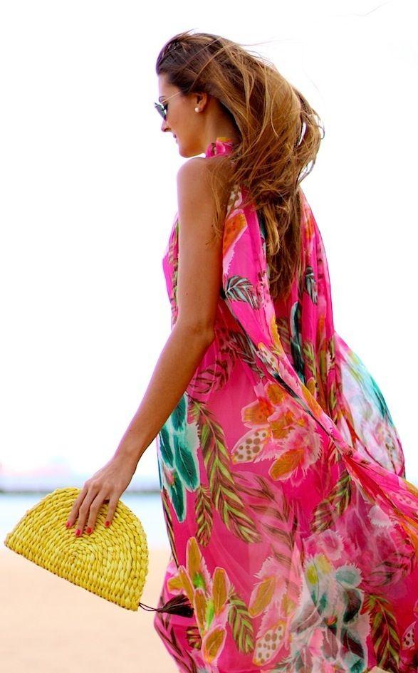 tropical  print chiffon maxi dress vacation maxi dress
