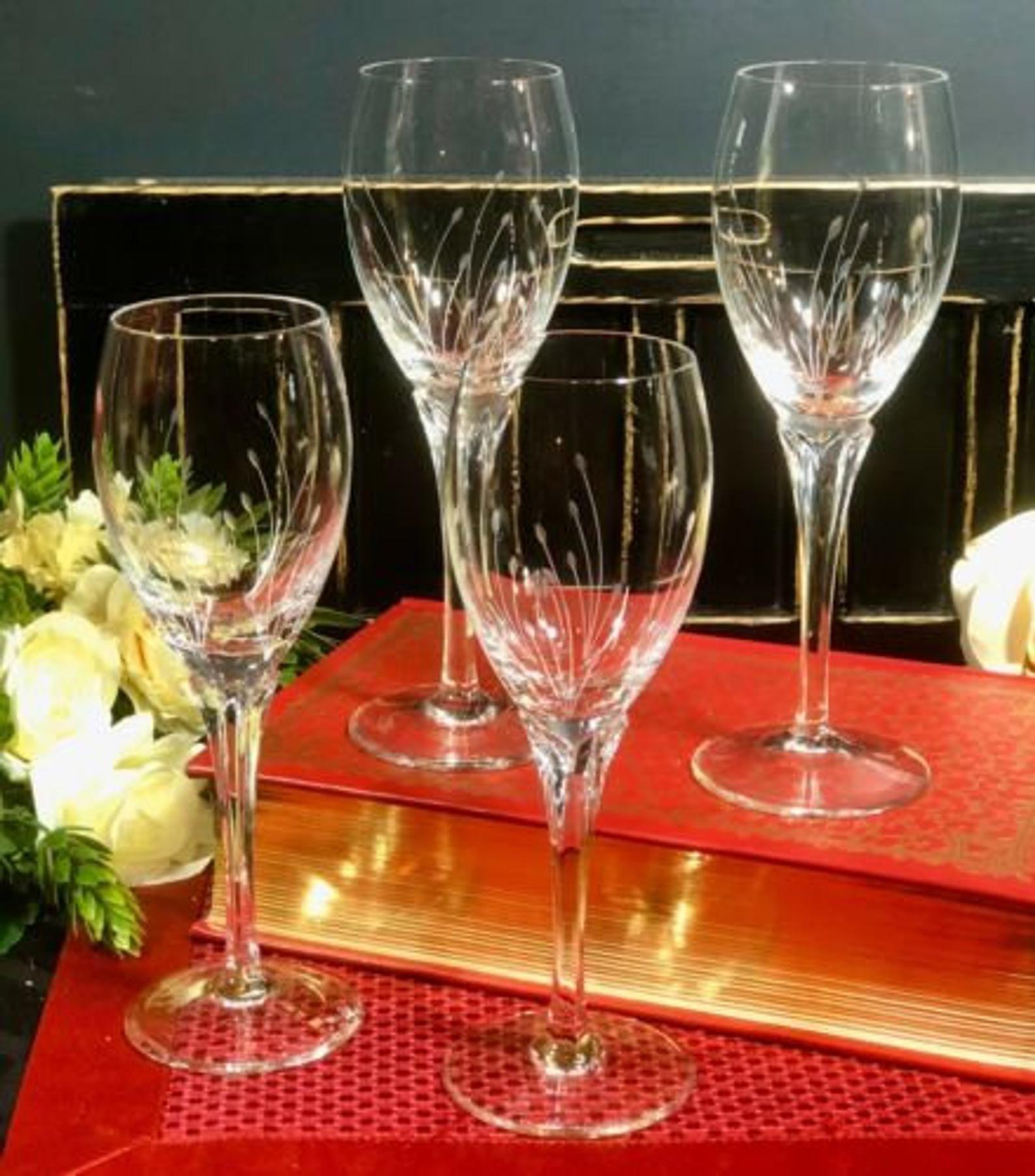 4 Gorham Jolie Tall Vintage Crystal Wine Glasses Blown Etched Floral Discount In 2020 Crystal Wine Glasses Vintage Crystal Fireplace Tool Set