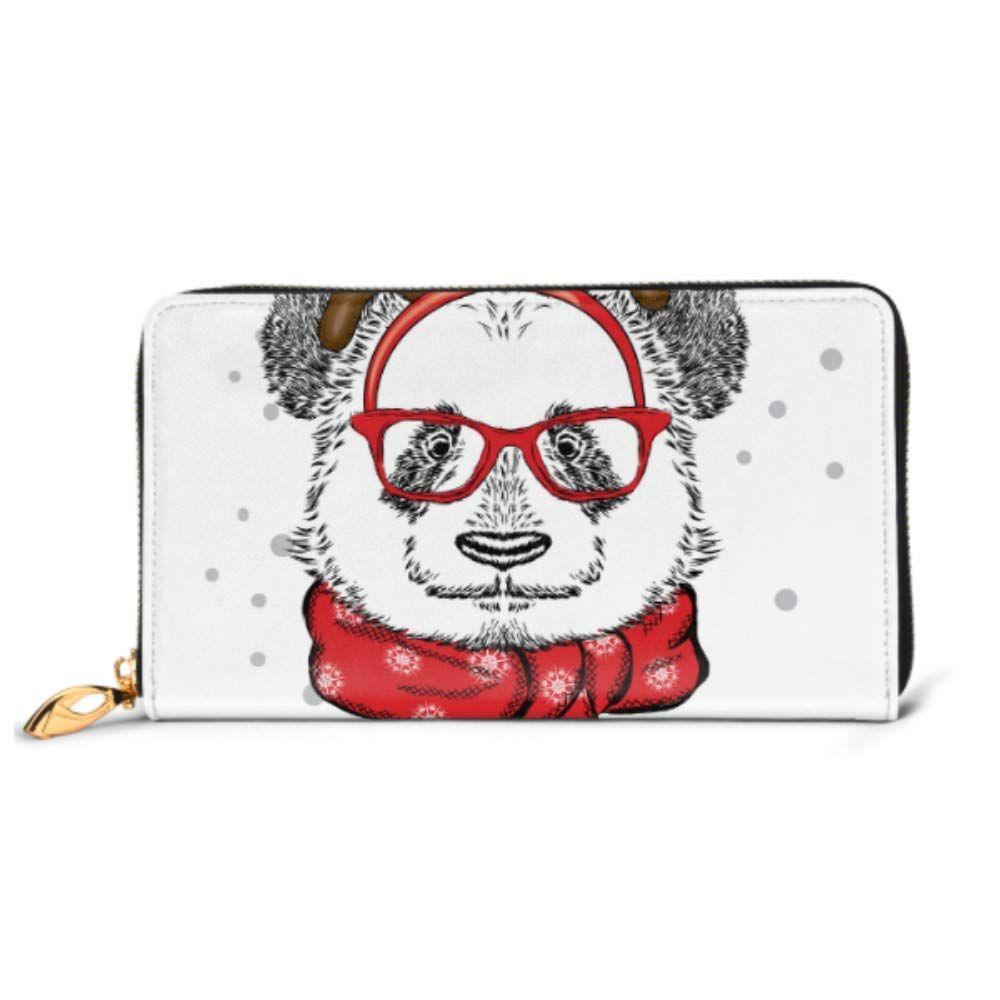 Fashion Handbag Zipper Wallet Funny Panda Wearing Glasses Horns Bear Phone Clutch Purse Evening Clutch Blocking Leather Wallet Multi Card Organizer