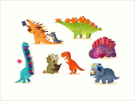 'BOOK DINOSAURS' Art Print by bonniepangart #dinosaurillustration