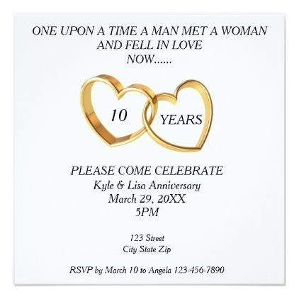 10th Year Wedding Anniversary Invitation Gifts Marriage Love S