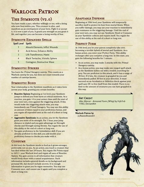 Warlock Patron: The Symbiote in 2019   Dnd classes   Dnd