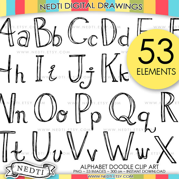 Alphabet Doodle Hand Drawn Clipart By Nedti Hand Lettering Alphabet Hand Lettering Fonts Lettering Alphabet