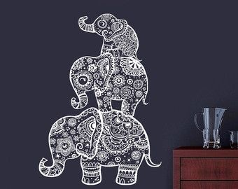 Wall Decals Nursery Indian Elephant Decal Bohemian