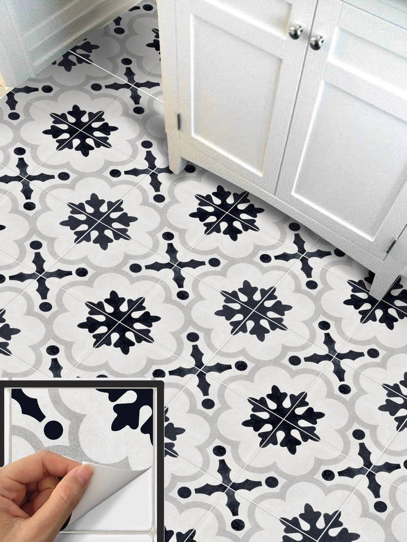 Tile Sticker For Kithchen Backsplash Bath Floor Wall Etsy In 2020 Wall Waterproofing Flooring Backsplash