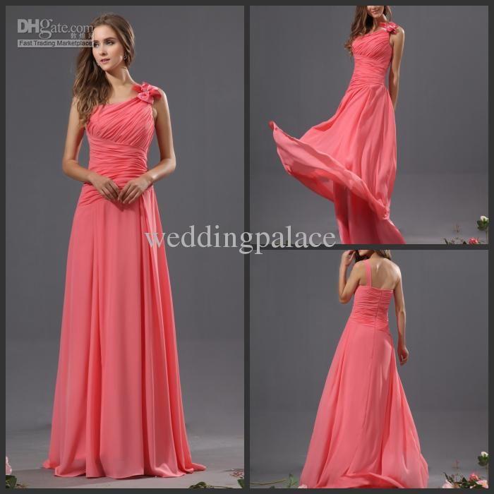 one shoulder chiffon long dress bow