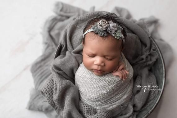 Cameron grey gray rosette moss neutral organic newborn tie back flower crown headband halo #crownheadband