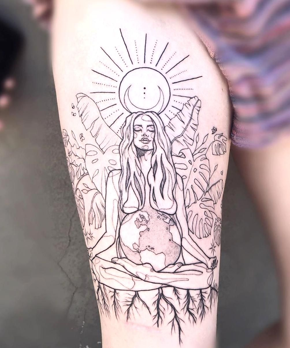 Mother Earth Tattoo Tattoo Ideas And Inspiration Anamaturana In 2020 Earth Tattoo Hippie Tattoo Sleeve Tattoos